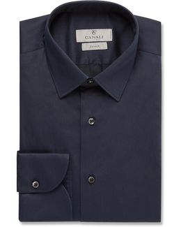 Blue Slim-fit Strech Cotton-blend Shirt