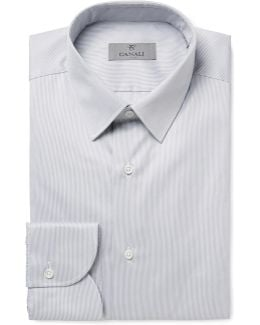 Grey Slim-fit Striped Cotton Shirt