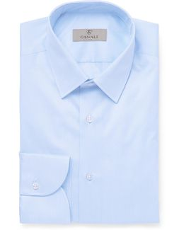 Blue Slim-fit Striped Cotton Shirt