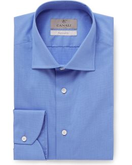 Blue Slim-fit End-on-end Cotton Shirt