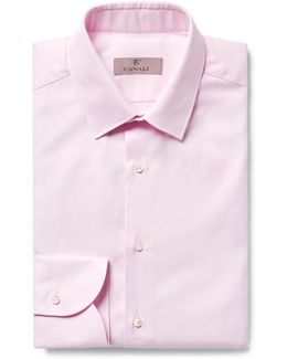 Pink Slim-fit Textured-cotton Shirt