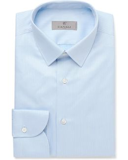 Blue Slim-fit Herringbone Cotton Shirt