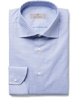 Blue Slim-fit Cutaway-collar Checked Cotton-poplin Shirt