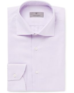 Purple Cutaway-collar Basket-weave Cotton Shirt
