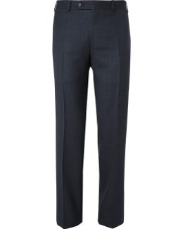 Blue Sienna Slim-fit End-on-end Wool And Silk-blend Suit Trousers