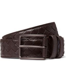 3cm Brown Intrecciato Leather Belt