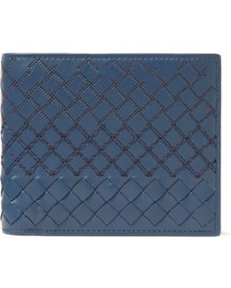 Embroidered Intrecciato Leather Billfold Wallet