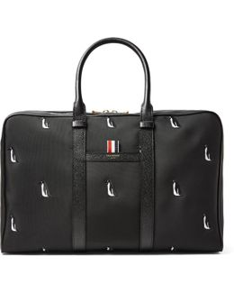 Leather-trimmed Penguin-embroidered Nylon Holdall