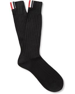 Ribbed Cotton Mid-calf Socks