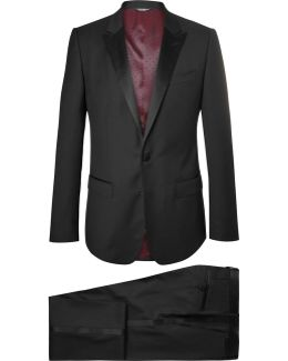 Black Slim-fit Satin-trimmed Virgin Wool-blend Three-piece Tuxedo