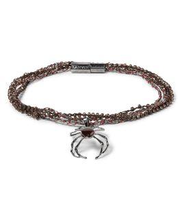 Gunmetal-tone, Bead And Stone Wrap Bracelet