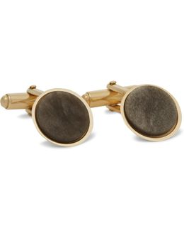 Gold-plated Obsidian Cufflinks