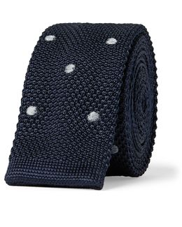 4.5cm Polka-dot Knitted Silk Tie