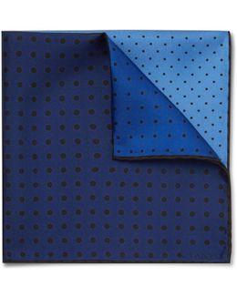 Polka-dot Colour-block Silk-twill Pocket Square