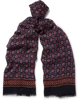 Patterned Cashmere And Silk-blend Scarf