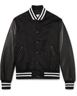 Leather And Wool Bomber Jacket