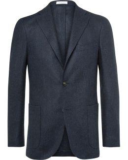 Blue Slim-fit Herringbone Slub Virgin Wool Blazer