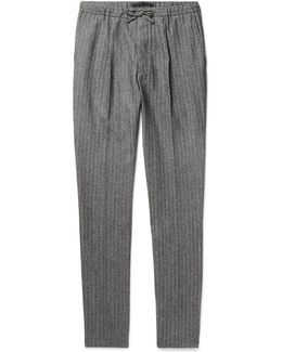 Slim-fit Herringbone Wool And Cotton-blend Drawstring Trousers