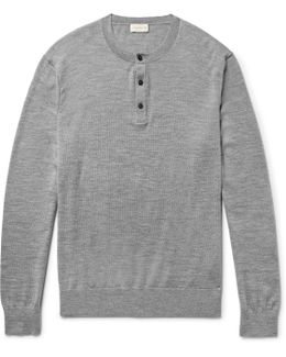 Mélange Merino Wool, Silk And Cashmere-blend Henley Sweater