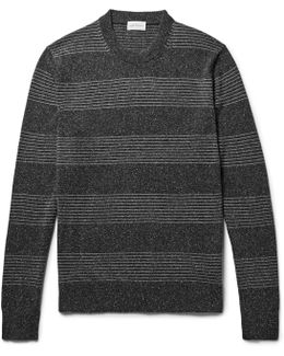 Striped Mélange Silk And Cotton-blend Sweater