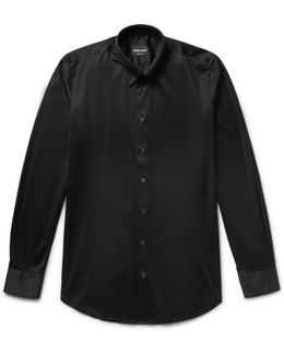 Slim-fit Button-down Collar Cotton-jersey Shirt