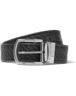 3.5cm Black Pelle Tessuta Leather Belt