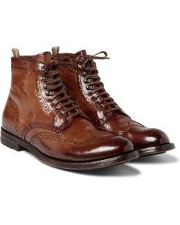 Anatomia Burnished-leather Brogue Boots