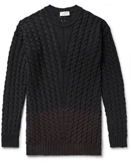 Two-tone Cable-knit Merino Wool-blend Sweater
