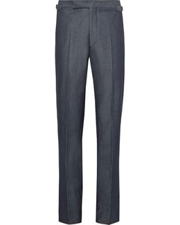 Blue Slim-fit Denim Suit Trousers