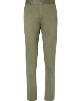 Green Slim-fit Cotton-twill Suit Trousers