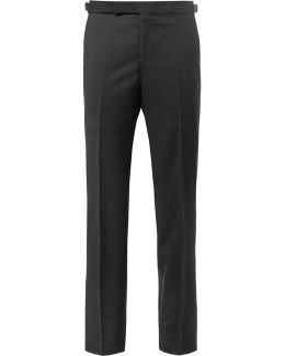 Black Slim-fit Satin-trimmed Wool And Mohair-blend Tuxedo Trousers