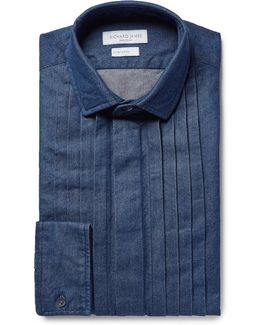 Blue Pintucked Washed Cotton-chambray Shirt