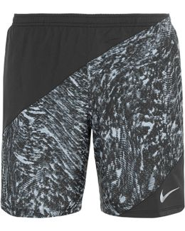 Perforated Printed Shell Shorts