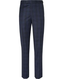 Blue Hyde Checked Wool Suit Trousers