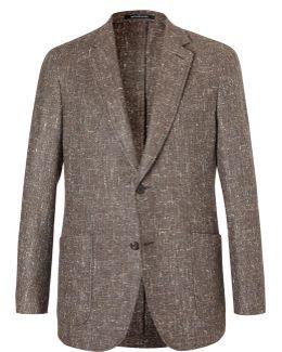 Brown Slim-fit Slub Silk, Wool And Cashmere-blend Blazer