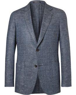 Blue Slim-fit Slub Silk, Wool And Cashmere-blend Blazer