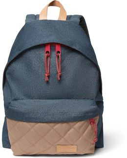 Padded Pak'r Leather-trimmed Canvas Backpack