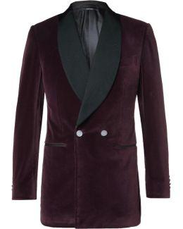 Burgundy Dundee Slim-fit Double-breasted Grosgrain-trimmed Stretch-cotton Velvet Blazer