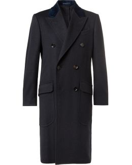 Double-breasted Velvet-trimmed Cashmere Overcoat