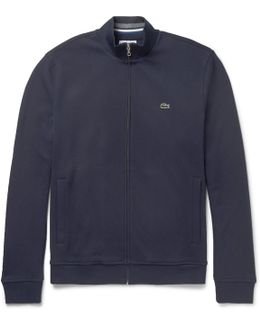 Fleece-back Cotton-blend Piqué Zip-up Sweatshirt