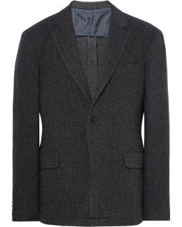 Charcoal Slim-fit Herringbone Virgin Wool-blend Blazer