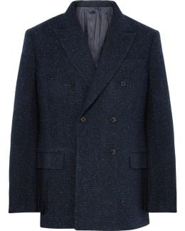 Navy Double-breasted Prince Of Wales Checked Slub Wool-blend Blazer