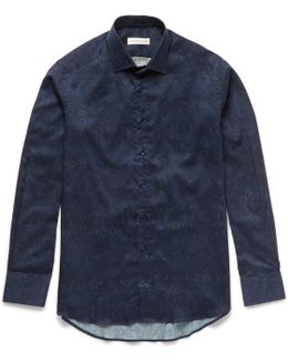 Slim-fit Damask-printed Cotton-poplin Shirt