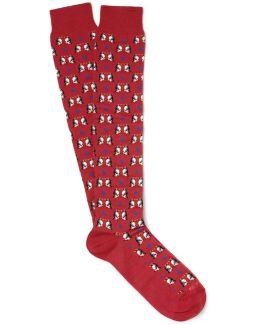 Penguin-patterned Cotton-blend Socks