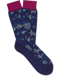 Paisley-patterned Cotton-blend Socks