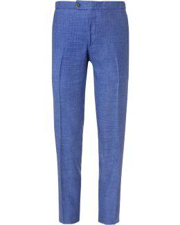 Blue Slim-fit Mélange Slub Wool, Silk And Linen-blend Suit Trousers