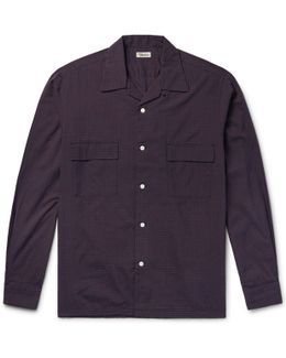 Slim-fit Camp-collar Checked Cotton-blend Shirt