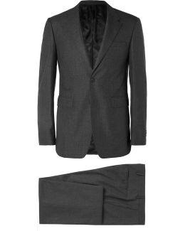 Grey Slim-fit Wool-sharkskin Suit