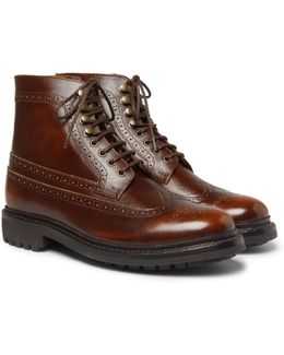 Sebastian Pebble-grain Leather Longwing Brogue Boots