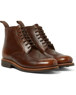 Sharp Burnished Pebble-grain Leather Brogue Boots
